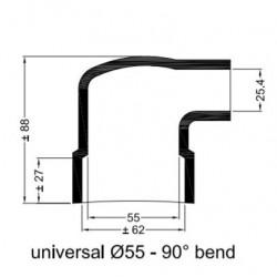 Universal gummihylsa vinklad Ø 55 mm.