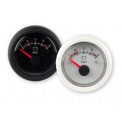 Voltmeter gauge, 8-16V, black